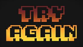 Try Again screen orange and yellow colors. Try Again screen 8-bit retro video game style text, old arcade games animation, orange and yellow colors background royalty free illustration