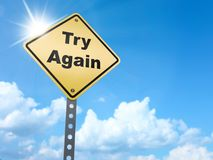 Try again sign. On blue sky background,3d rendered Stock Images