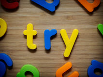 Try or attempt. Toy stock image