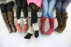 Try on boots royalty free stock photo