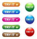 Try it buttons. Try it glossy buttons collection of different colors Stock Photos