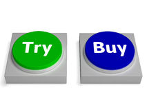 Try Buy Buttons Shows Trying Or Buying Stock Image