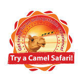 Try a Camel Safari - label for travel agency Royalty Free Stock Photo