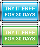 Try it Free for 30 Days button Stock Photography