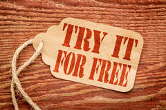 Try it for free on price tag Stock Photo