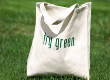 Try Green - Shop Green. Shopping bag made out of recycled materials, replaces plasic shopping bags and is reusable Stock Images