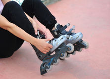 try inline rollerblades Royalty Free Stock Photo