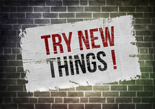Try new things. Poster concept Stock Image