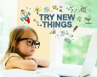 Try New Things text with little girl royalty free stock image
