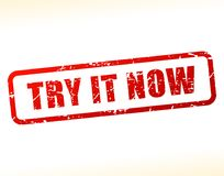 Try it now text buffered. Illustration of try it now text buffered Royalty Free Stock Images