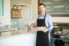 Try our freshly baked cupcakes Royalty Free Stock Photography