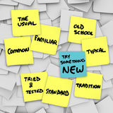 Try Something New Change Normal Usual Routine Shake it Up. The words Try Something New on a different color sticky note from the other yellow notes on a bulletin Royalty Free Stock Image