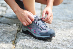 Try sport shoes. Try new sport shoes outdoor Stock Image