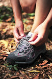 Try sport shoes in the nature. Try new sports shoes in the nature Royalty Free Stock Image