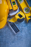 Try square construction level tape-measure Stock Photo