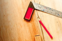Try Square and wood pencil for carpenter on wooden background tool woodcraft object stock images