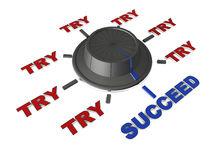 Try try till you succeed. Switch to succeed after or versus trying, concept of trying hard and again, and gaining success, white background Royalty Free Stock Images