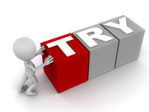 Try. Word in blocks being pushed around by a little 3d man on white background Royalty Free Stock Image