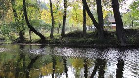Tryavna river in the town of Tryavna in the autumn season. This video was taken in Bulgaria stock footage