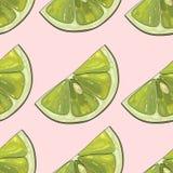 Tryck av gröna citroner på en rosa bakgrund för mjukhet royaltyfri illustrationer