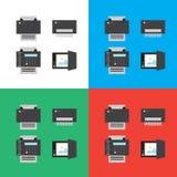 Tryck, bildläsare, fax och plana symboler eller illustrationer för dokumentförstörare Royaltyfria Bilder