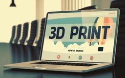 tryck 3D på bärbara datorn i konferensrum Royaltyfri Fotografi