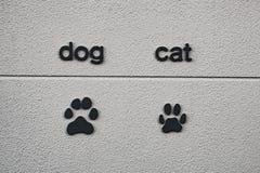 Tryck för djur fot på väggen Royaltyfri Bild