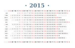 Tryck för kalender 2015 Royaltyfri Foto
