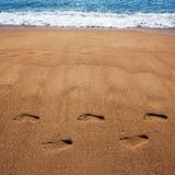 Tryck för mänsklig fot i sanden Fotografering för Bildbyråer