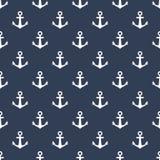 Tryck för modell för skeppankare sömlöst Vitt ankare på den sömlösa modelldesignen för blå bakgrund för tyg och bakgrund vektor illustrationer