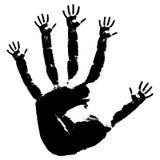 tryck för svart hand Royaltyfri Bild