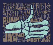 Tryck för t-shirt mot rock för musik för gitarr för bakgrundsblack brännhet grunge också vektor för coreldrawillustration Arkivfoto
