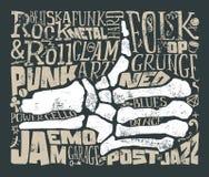 Tryck för t-shirt mot rock för musik för gitarr för bakgrundsblack brännhet grunge också vektor för coreldrawillustration Arkivfoton