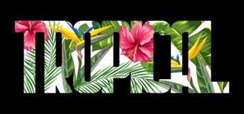 Tryck med tropiska sidor och blommor Gömma i handflatan filialer, fågel av paradisblomman, hibiskus royaltyfri illustrationer