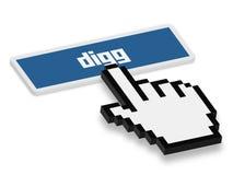 Tryck på den Digg knappen Royaltyfri Bild