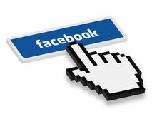 Tryck på den Facebook knappen Arkivbilder