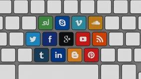 Tryck på dina sociala massmediaplatser Arkivbild