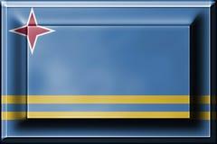 Tryck på knappen med att blanda den Aruba flaggan Royaltyfria Bilder