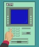 Trycka på ATM-knappen Royaltyfria Foton