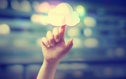Trycka på för hand en beräknande symbol för moln royaltyfri foto