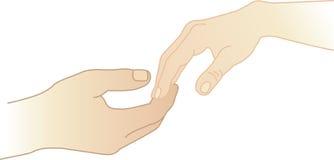 trycka på för vuxen människahänder Arkivbild