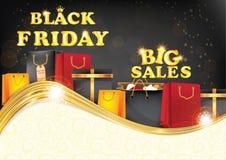 Tryckbar bakgrund Black Friday för stora försäljningar Royaltyfria Bilder