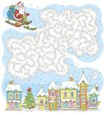 Tryckbar brädelek med Santa Claus royaltyfria bilder