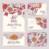 Tryckbar bröllopinbjudanmall: inbjudan kuvert, th vektor illustrationer