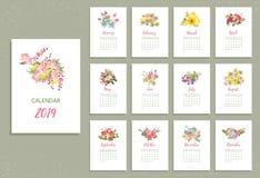 Tryckbar kalender 2019 med nätta färgrika blommor stock illustrationer