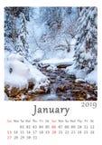 Tryckbar 2019 minimalist kalendermånad för natur A4 av Januari stock illustrationer