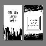 Tryckbar samling av idérika frihandskort Hand dragen text Royaltyfria Foton