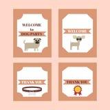 Tryckbar stam- uppsättning av beståndsdelar för tappninghundparti Mallar, etiketter, symboler och sjalar Arkivbild