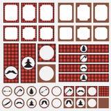 Tryckbar uppsättning av beståndsdelar för tappningskogsarbetareparti Mallar, etiketter, symboler och sjalar Arkivfoton