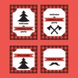 Tryckbar uppsättning av kort för för tappningskogsarbetareinbjudan och välkomnande Arkivfoto